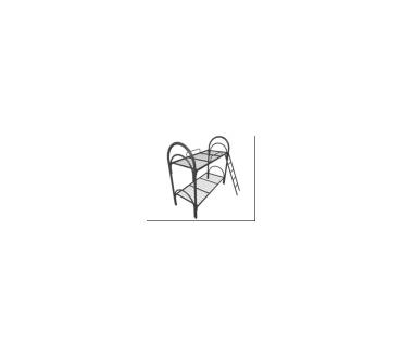 МК2-51, кровать металлическая двухъярусная с лестницей и ограждением
