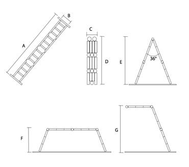 Шарнирная лестница-трансформер 2*3 + 2*4